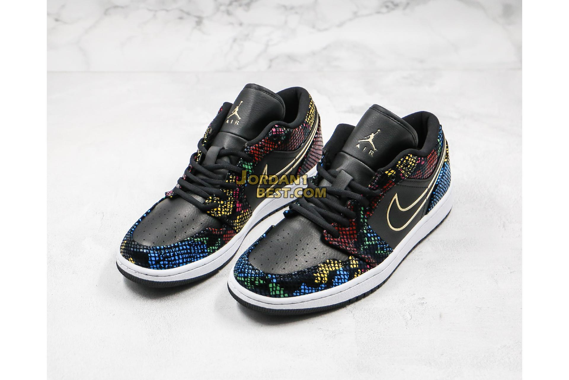 "2020 Air Jordan 1 Low ""Multi Snakeskin"" CW5580-001 Mens Womens"