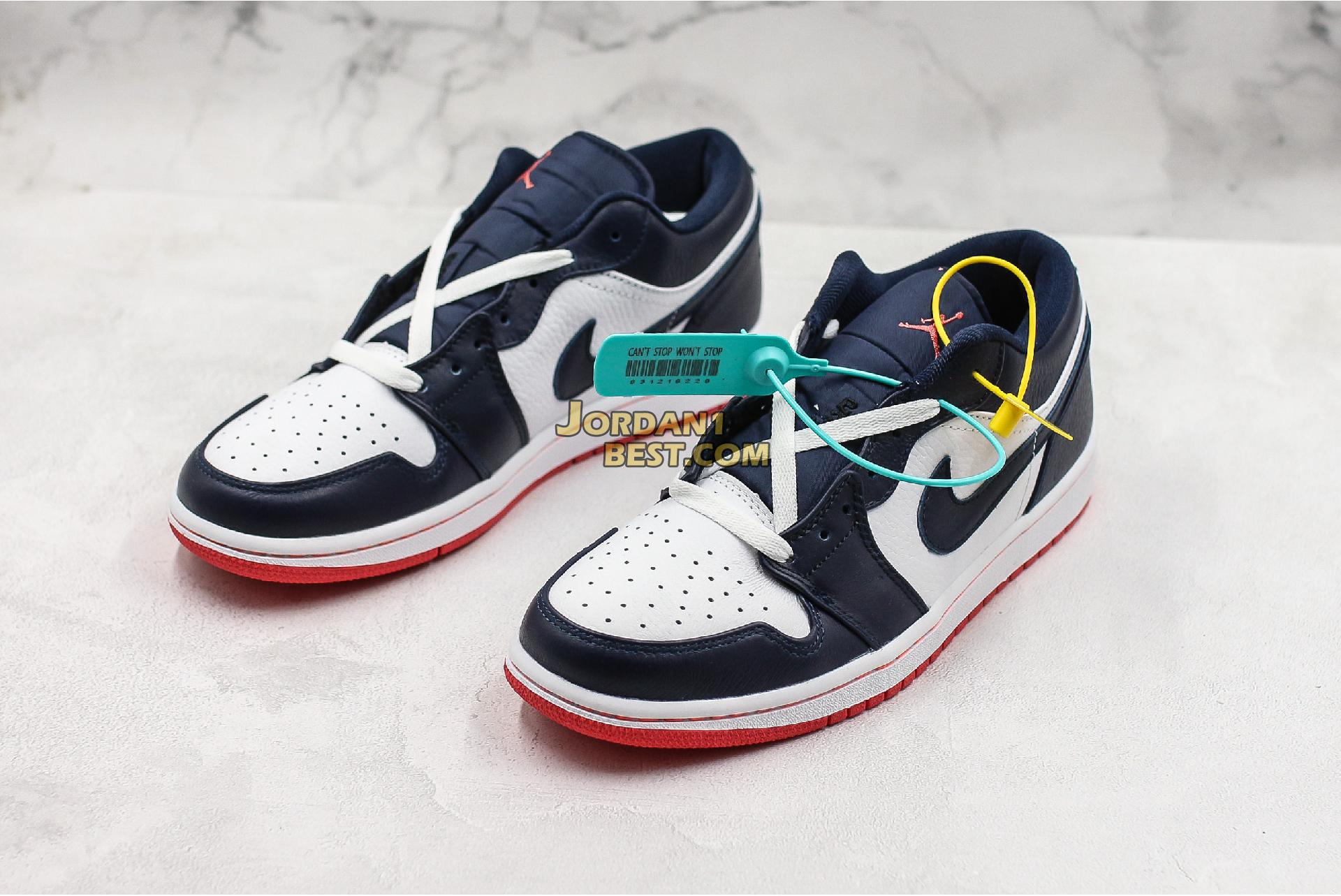 "Air Jordan 1 Low ""Obsidian Ember Glow"" 553558-481 Mens Womens"