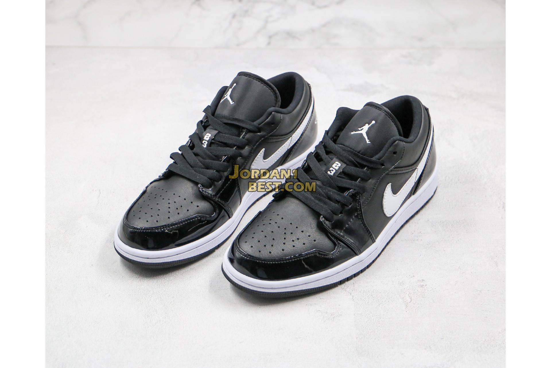 "Air Jordan 1 Low GS Retro ""Black Patent White"" 553560-002 Mens Womens"