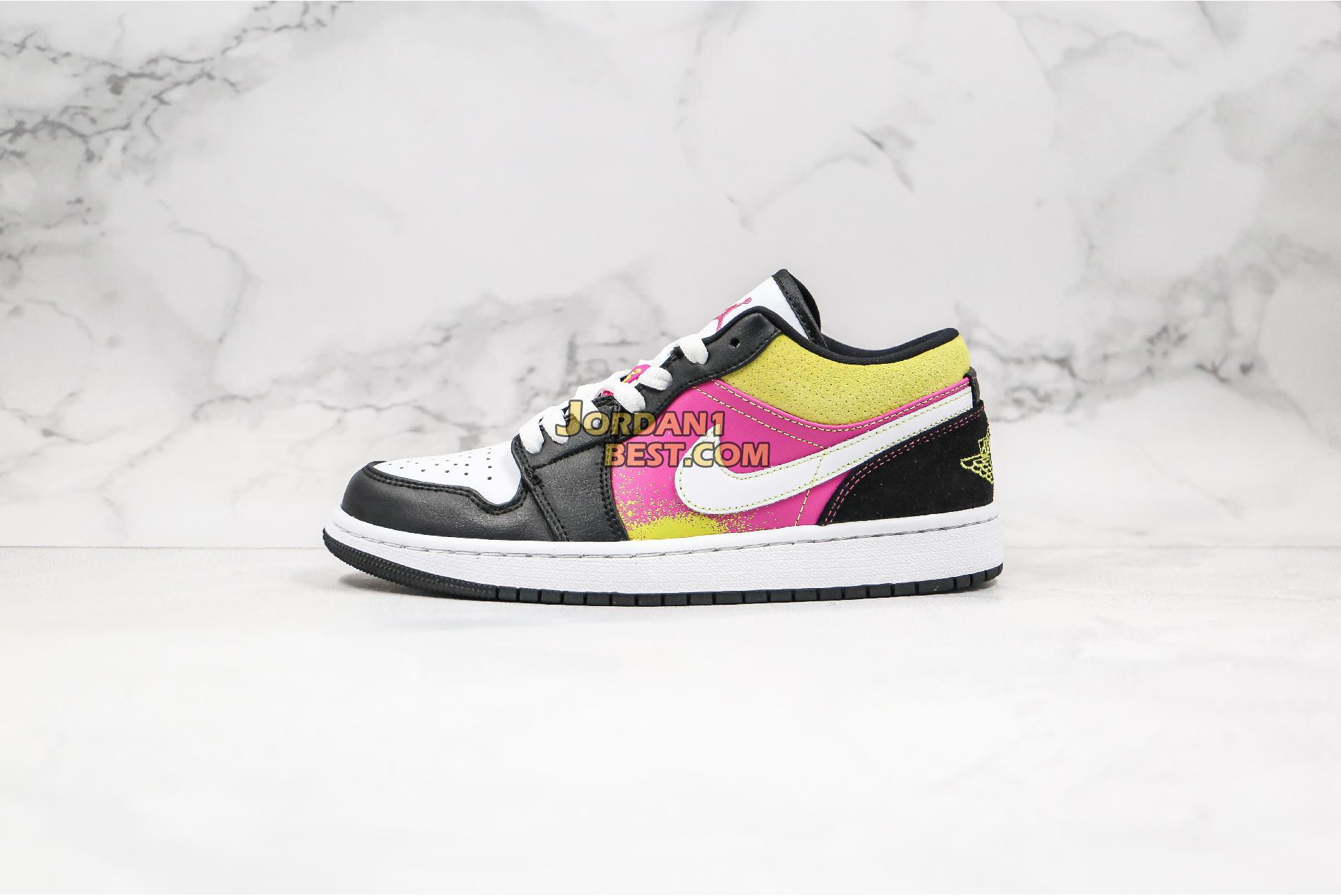 "Air Jordan 1 Low ""Black Active Fuchsia Cyber"" CW5564-001 Mens Womens"