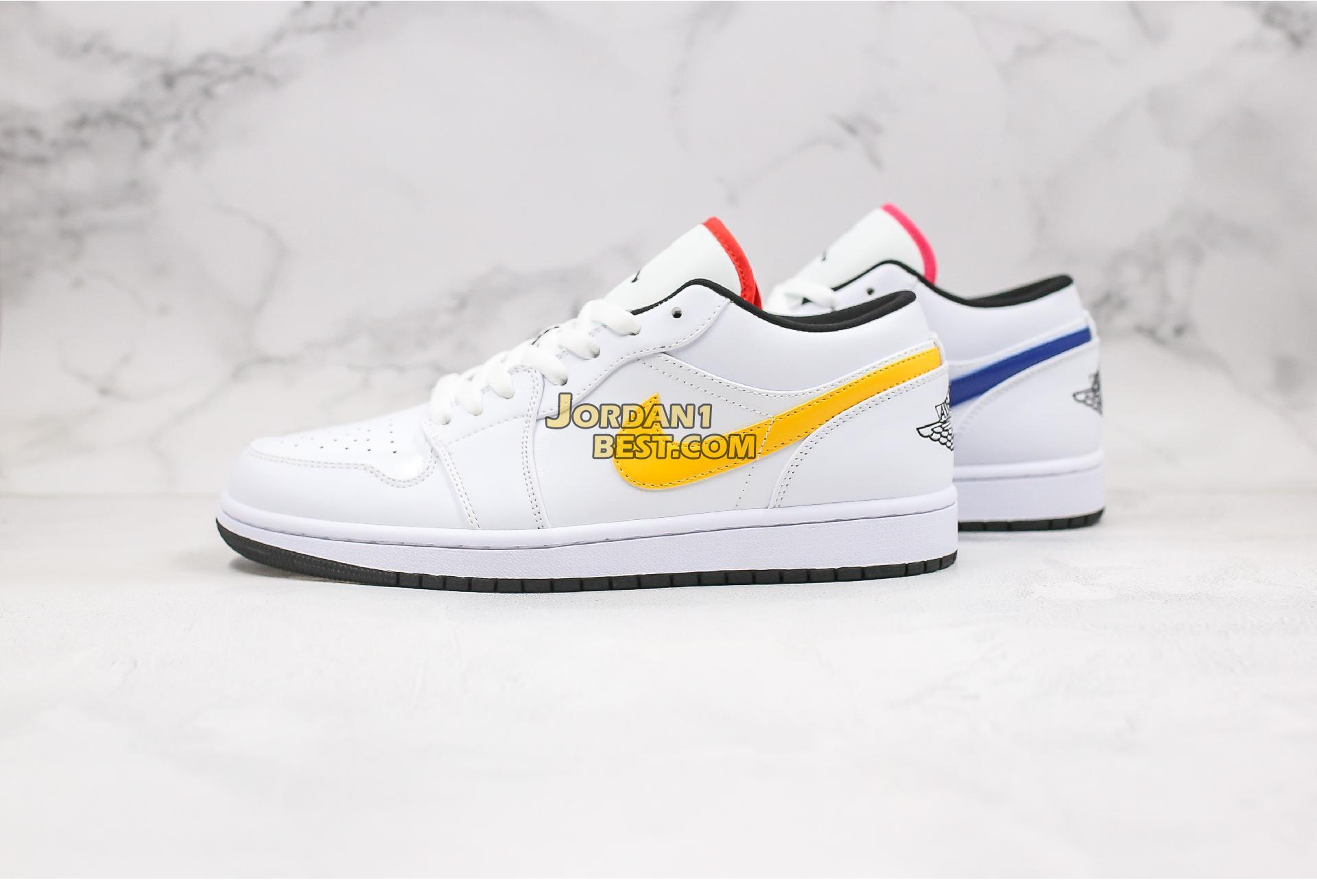 """2020 Air Jordan 1 Low """"Multi-Color Swoosh"""" CW7009-100 Mens Womens"""