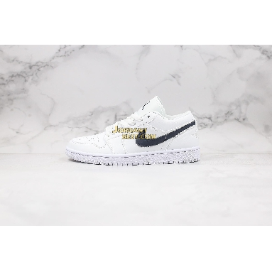 "fake 2019 Air Jordan 1 Low ""White Obsidian"" 553558-114 Mens Womens white/obsidian Shoes replicas On Wholesale Sale Online"