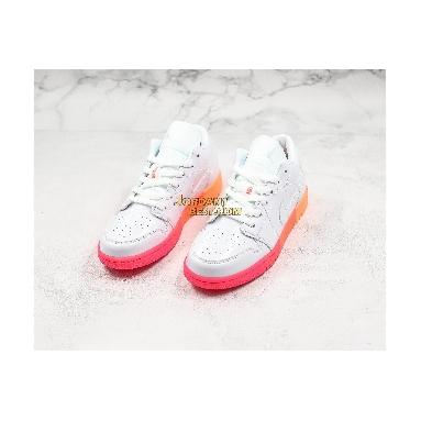 "new replicas Air Jordan 1 Low GS ""Sunset Sole"" 554723-100 Womens white/bright crimson-bright mango-white Shoes replicas On Wholesale Sale Online"