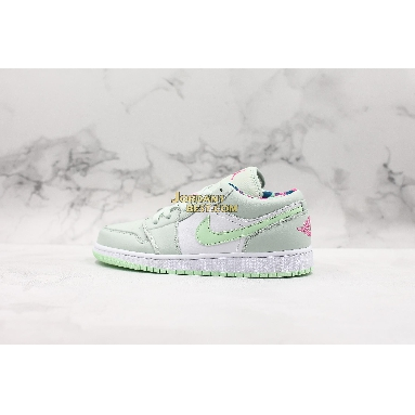 """AAA Quality Air Jordan 1 Low GS """"Barely Grey Spruce"""" 554723-051 Womens barely grey/white-laser fuchsia-frosted spruce Shoes replicas On Wholesale Sale Online"""