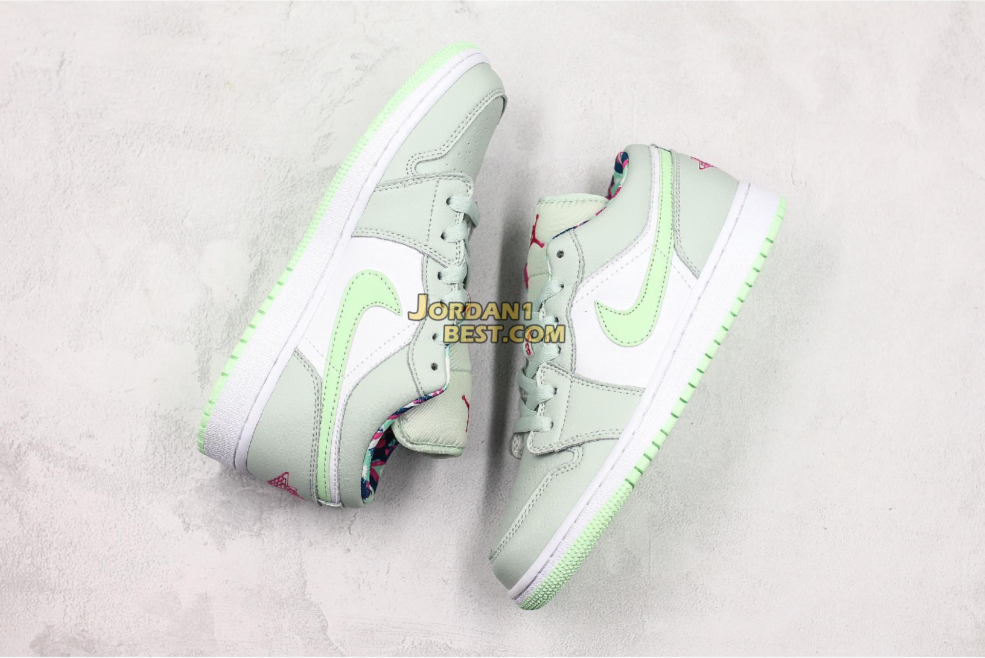 "Air Jordan 1 Low GS ""Barely Grey Spruce"" 554723-051 Womens"