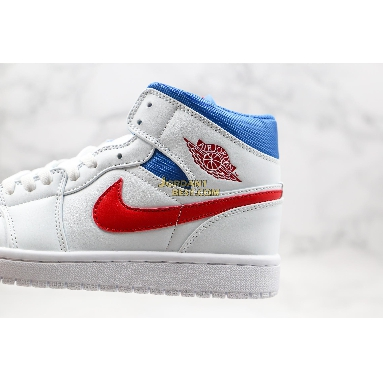 "new replicas Air Jordan 1 Mid ""USA"" BQ6472-164 Mens Womens white/university red-game royal Shoes replicas On Wholesale Sale Online"