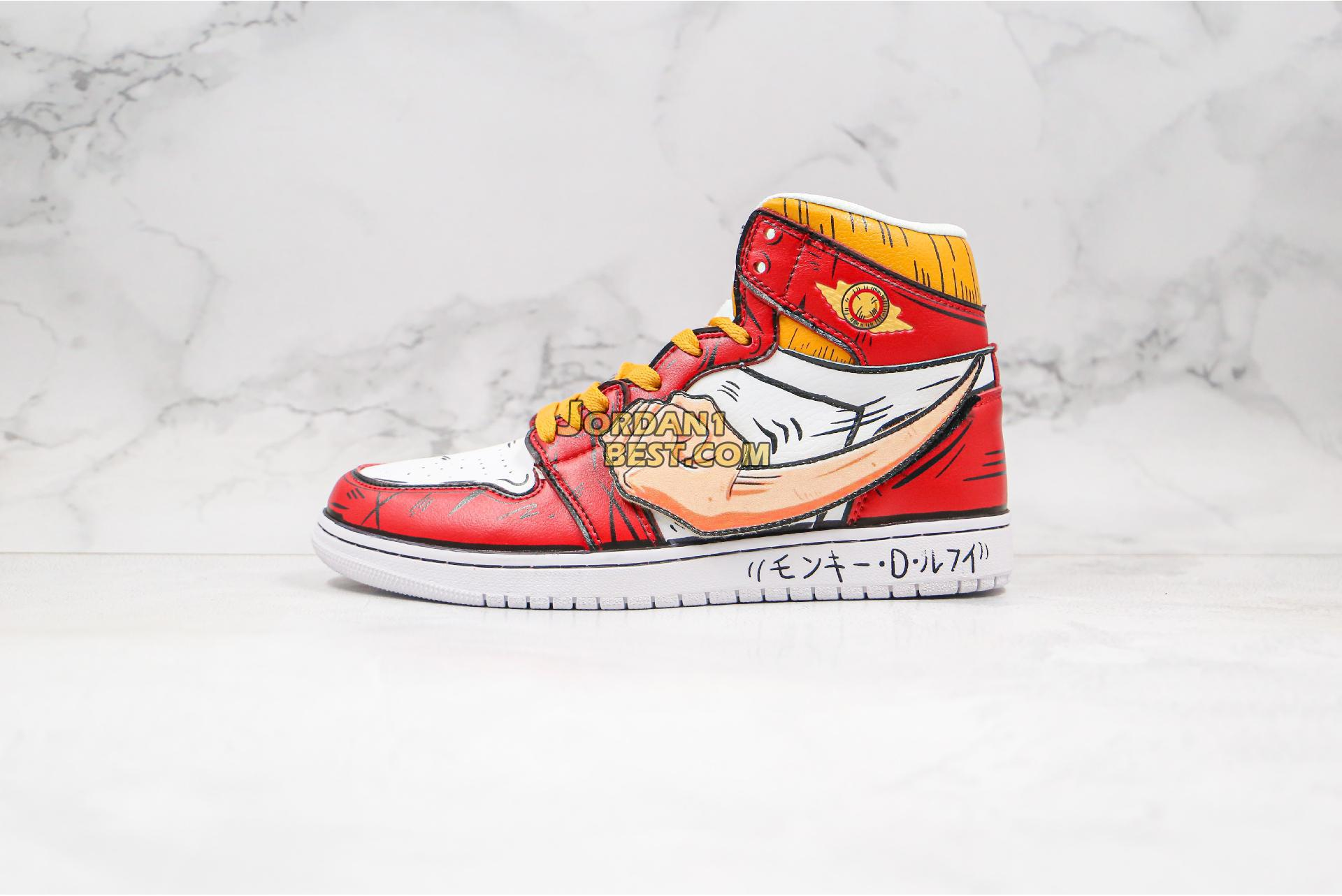 "Air Jordan Retro 1 Mid OG ""One Piece Luffy fist"" 556298-011 Mens Womens"