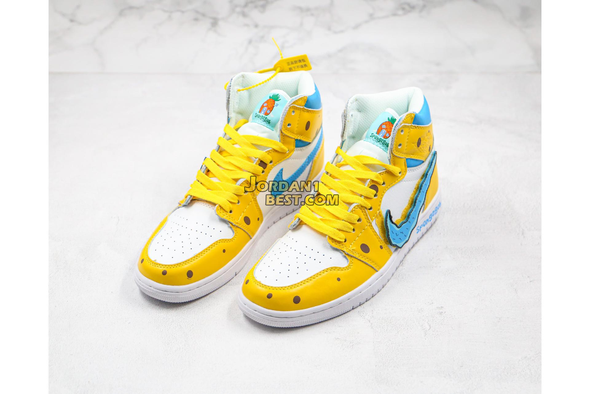 "Air Jordan Retro 1 Mid OG ""SpongeBob"" 556298-002 Mens Womens"
