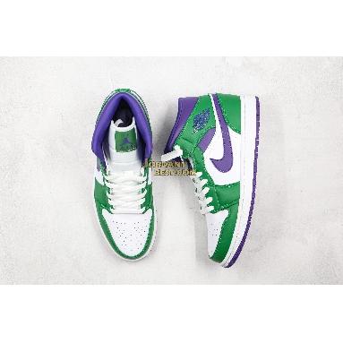 "AAA Quality Air Jordan 1 Mid ""Hulk"" 554724-300 Mens Womens aloe verde/court purple Shoes replicas On Wholesale Sale Online"