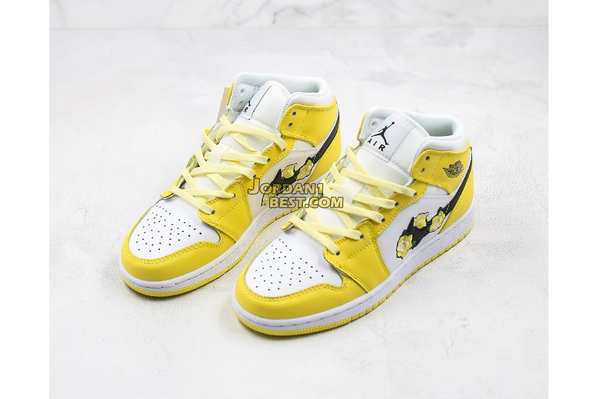 "2020 Air Jordan 1 Mid SE GS ""Rose Patch - Dynamic Yellow"" AV5174-700 Womens"