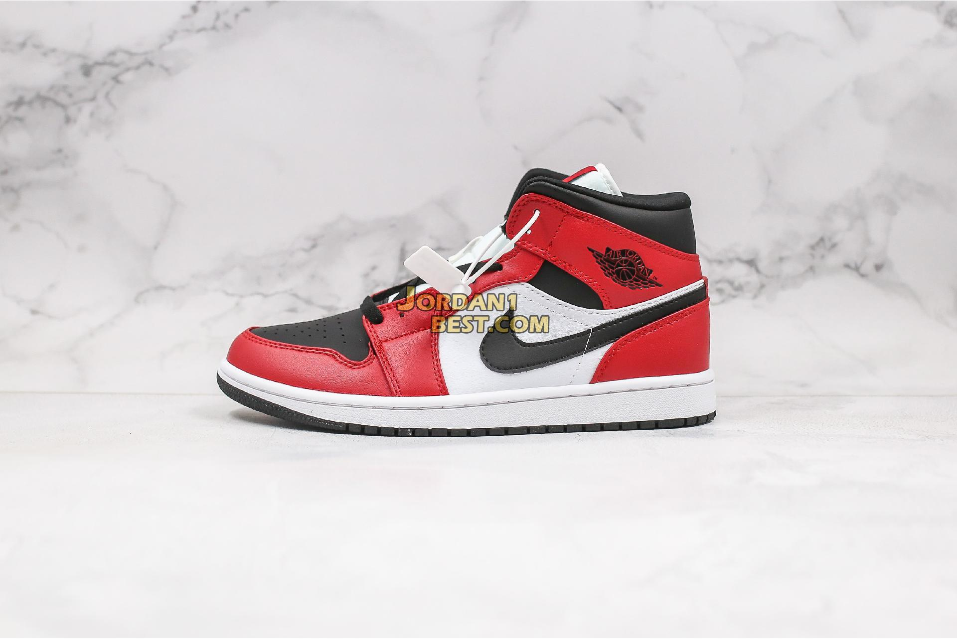 "2020 Air Jordan 1 Mid ""Chicago Black Toe"" 554724-069 Mens Womens"
