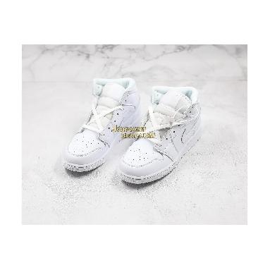 "AAA Quality Air Jordan 1 Mid BG ""Triple White"" 554725-129 Mens Womens triple white/white Shoes replicas On Wholesale Sale Online"
