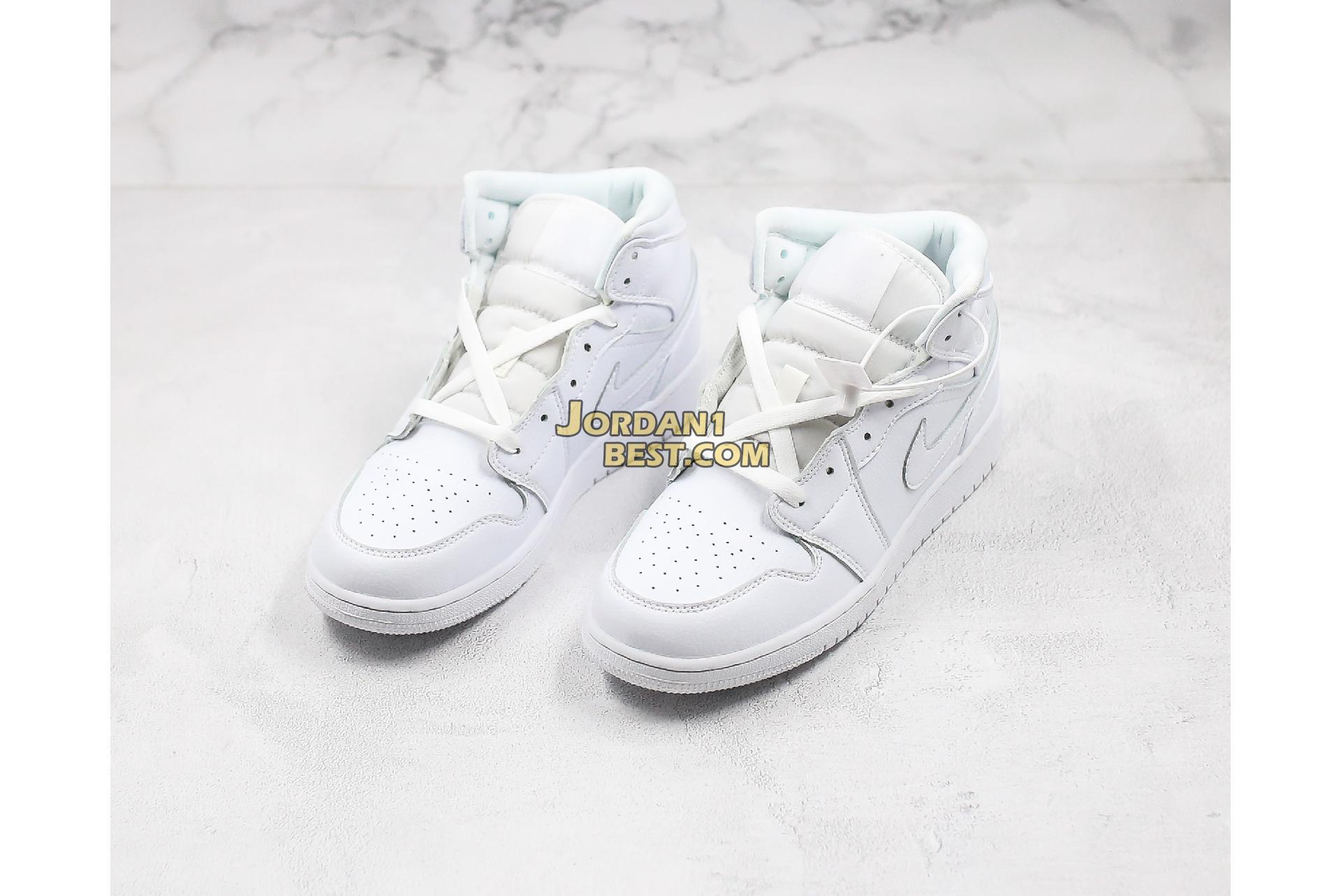 "Air Jordan 1 Mid BG ""Triple White"" 554725-129 Mens Womens"