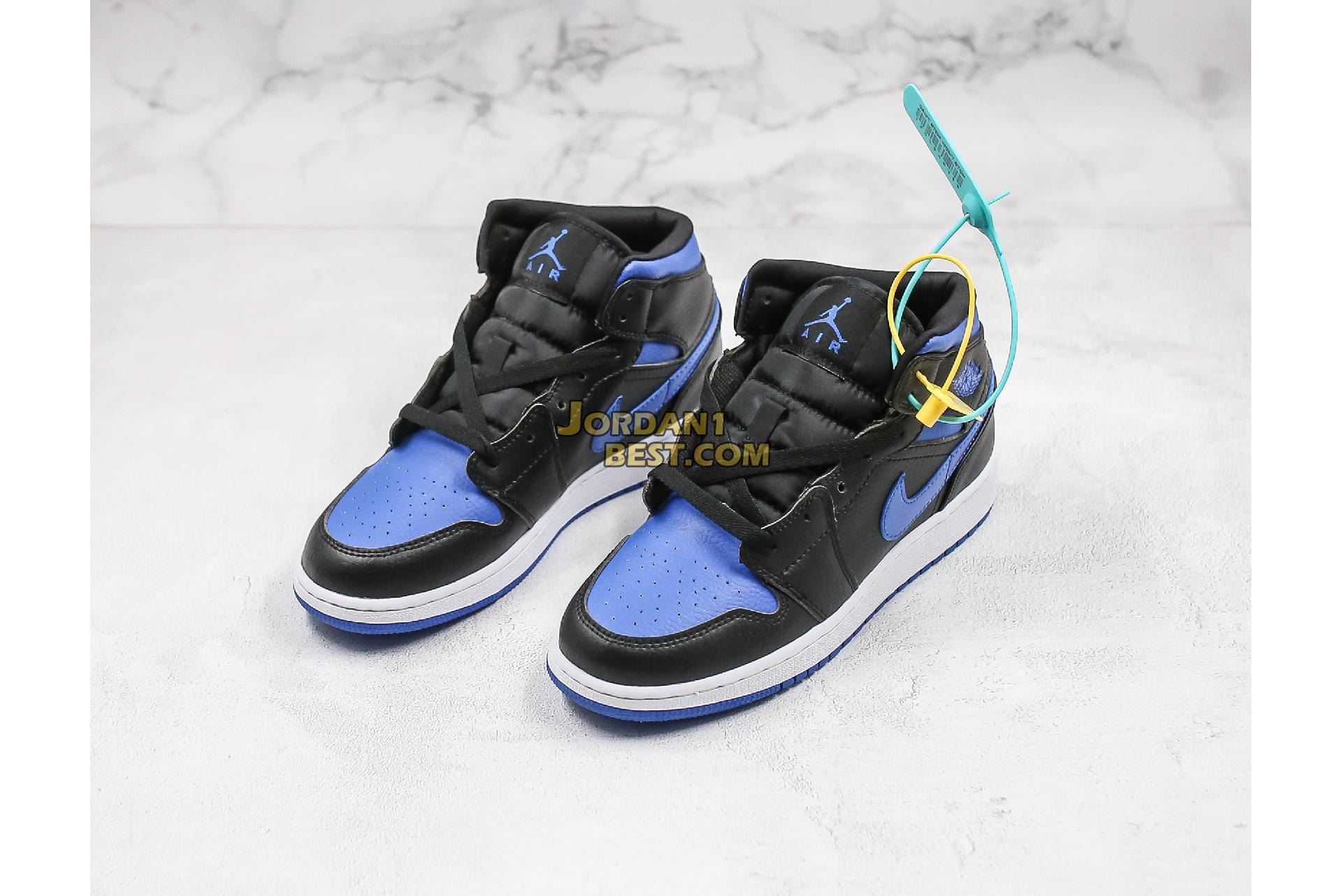 "Air Jordan 1 Mid ""Black Hyper Royal"" 554724-068 Mens Womens"