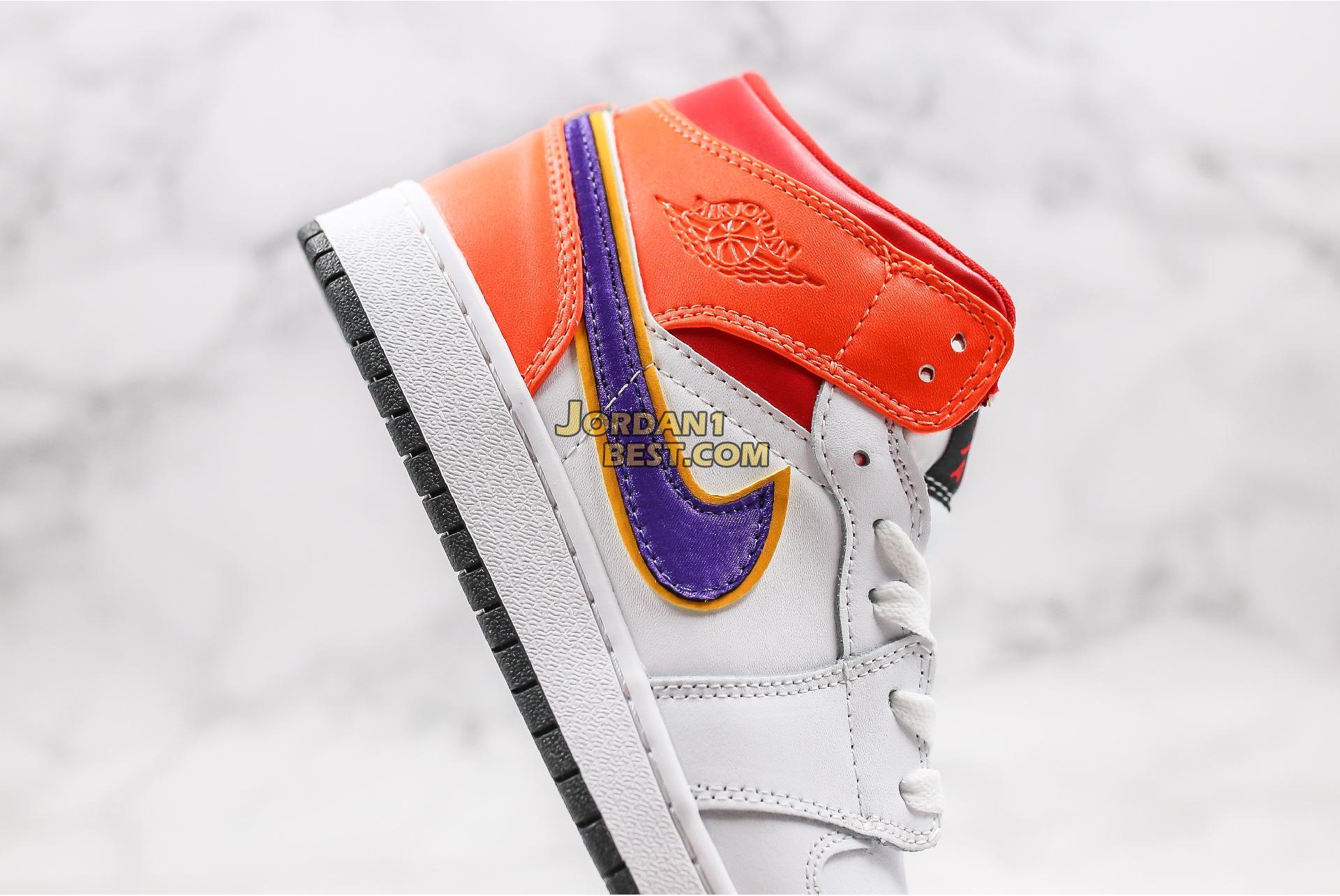 """Air Jordan 1 Mid GS """"White Court Purple Teal"""" 554725-128 Womens"""