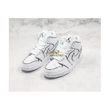 "AAA Quality Air Jordan 1 Mid SE ""Iridescent Trim"" CK6587-100 Mens Womens white/black Shoes replicas On Wholesale Sale Online"