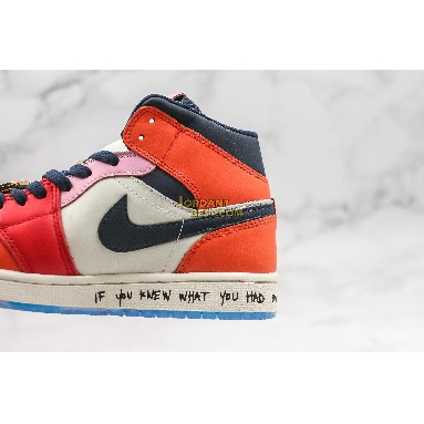"fake Melody Ehsani x Air Jordan 1 Mid ""Fearless"" CQ7629-100 Mens Womens white/black/half blue/habanero red Shoes replicas On Wholesale Sale Online"