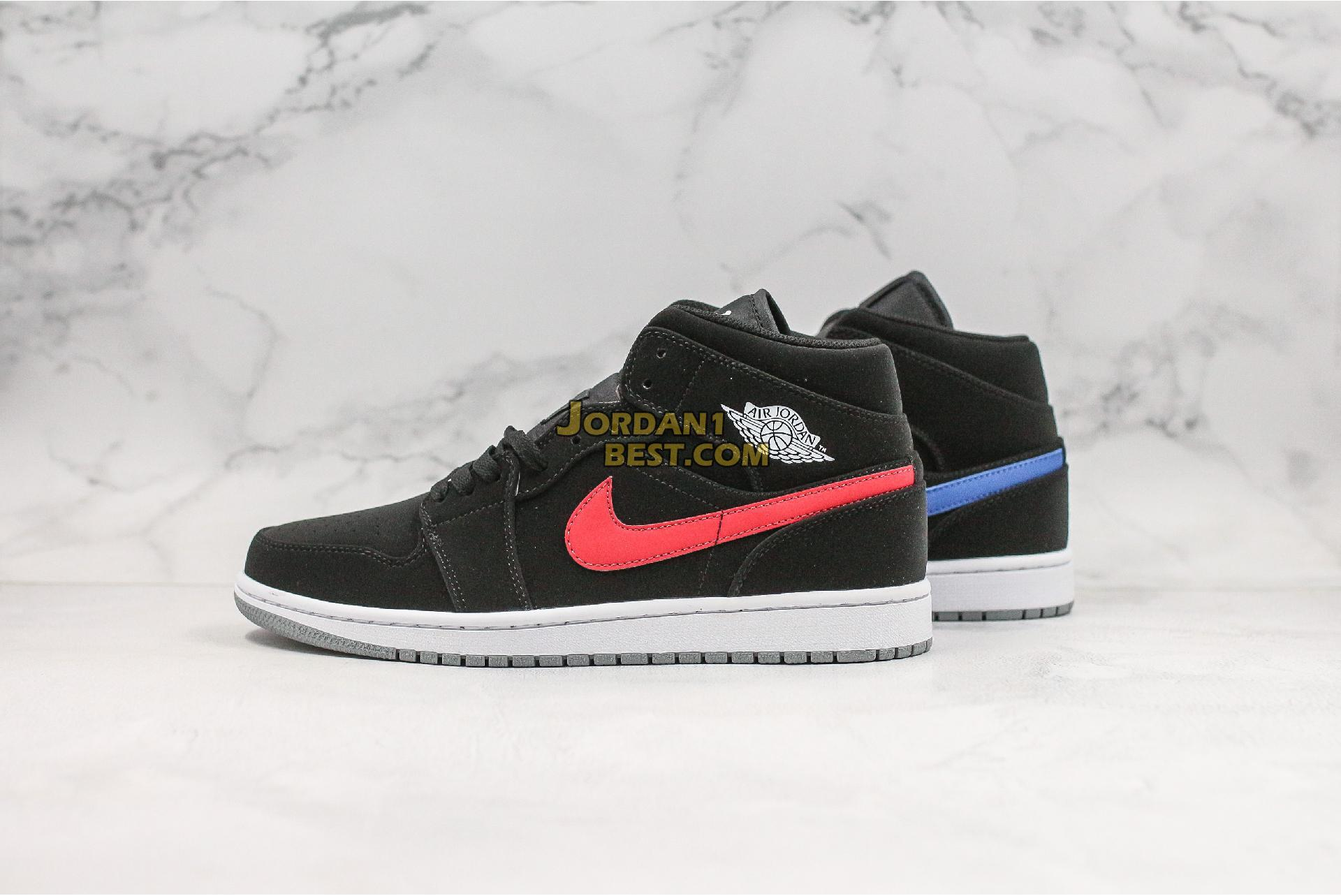 "Air Jordan 1 Retro Mid GS ""Black University Red"" 554725-065 Mens Womens"