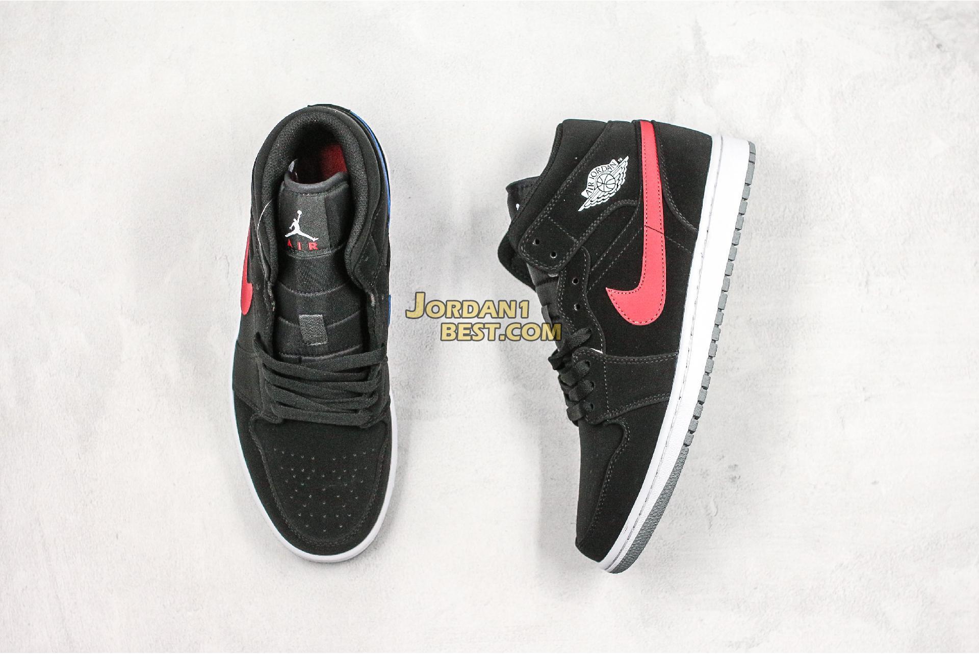 "Air Jordan 1 Retro Mid GS ""Black University Red"" 554725-065 Mens Womens"