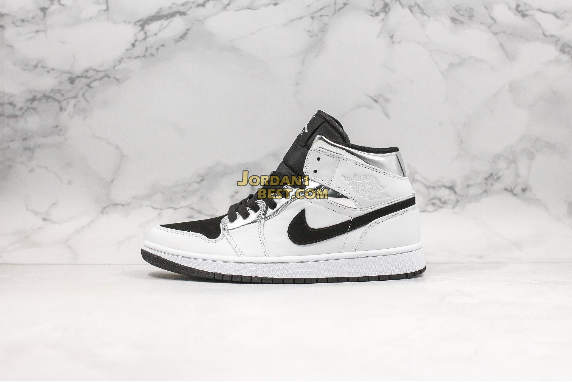 "Air Jordan 1 Mid ""White Silver"" 554724-121 Mens"