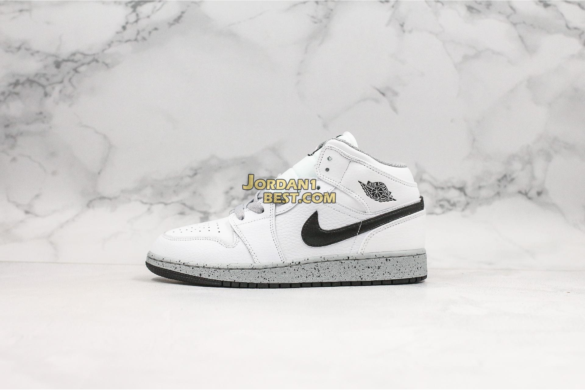 "Air Jordan 1 Retro Mid GS ""White Cement"" 554725-115 Mens Womens"