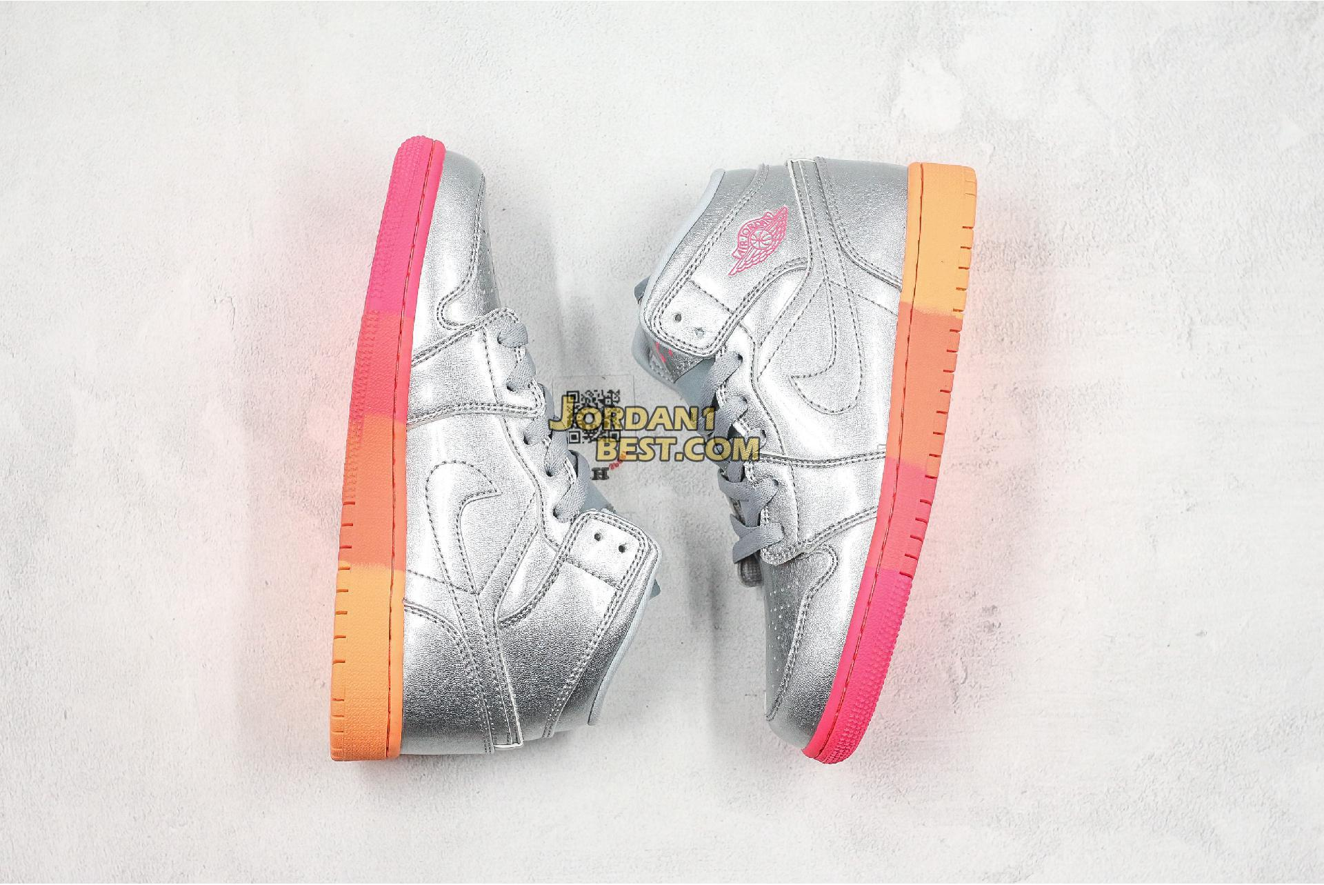 "Air Jordan 1 Mid GS ""Metallic Silver Pink Crimson"" 555112-006 Mens Womens"