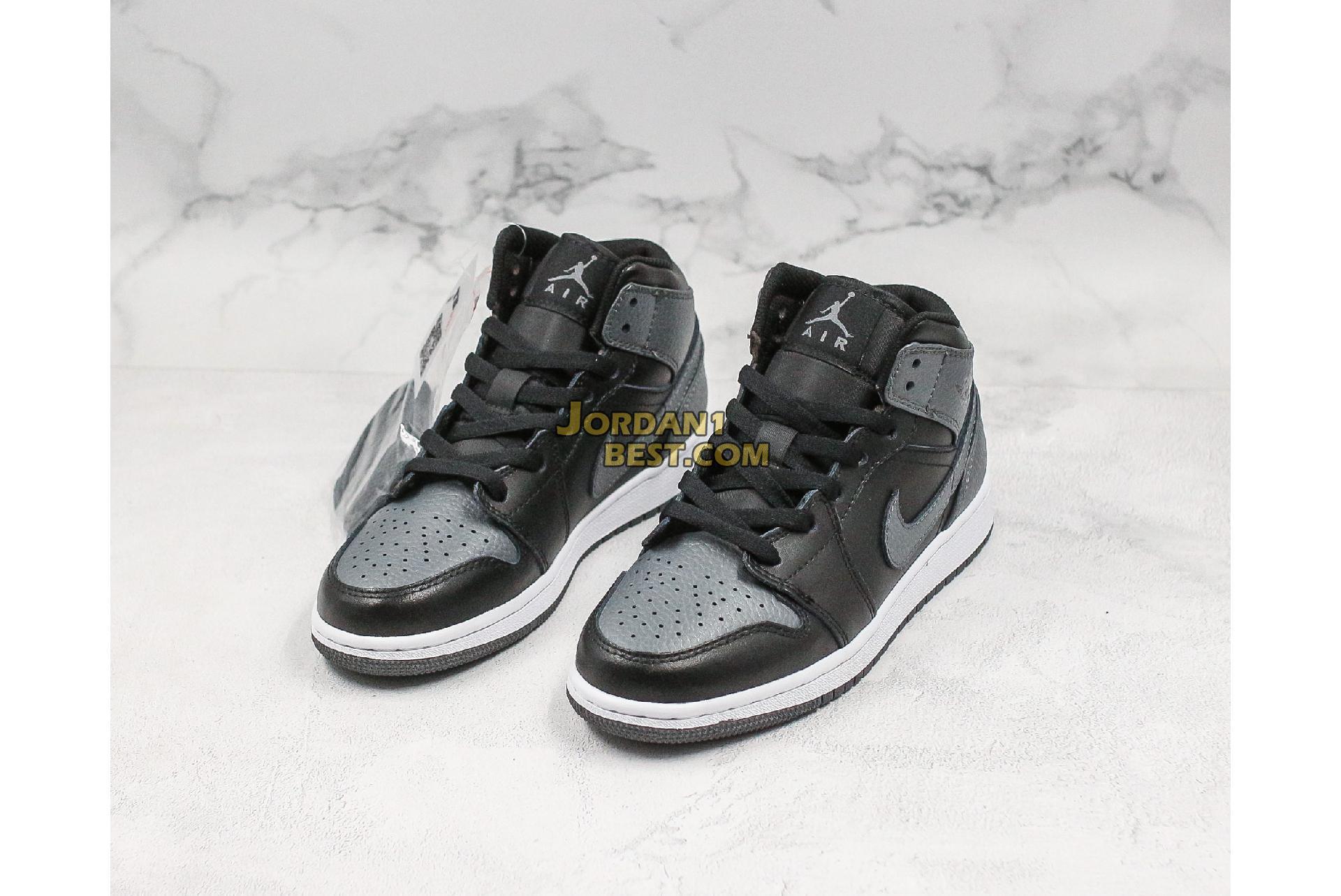 "Air Jordan 1 Retro Mid GS ""Black Dark Grey"" 554725-041 Mens Womens"
