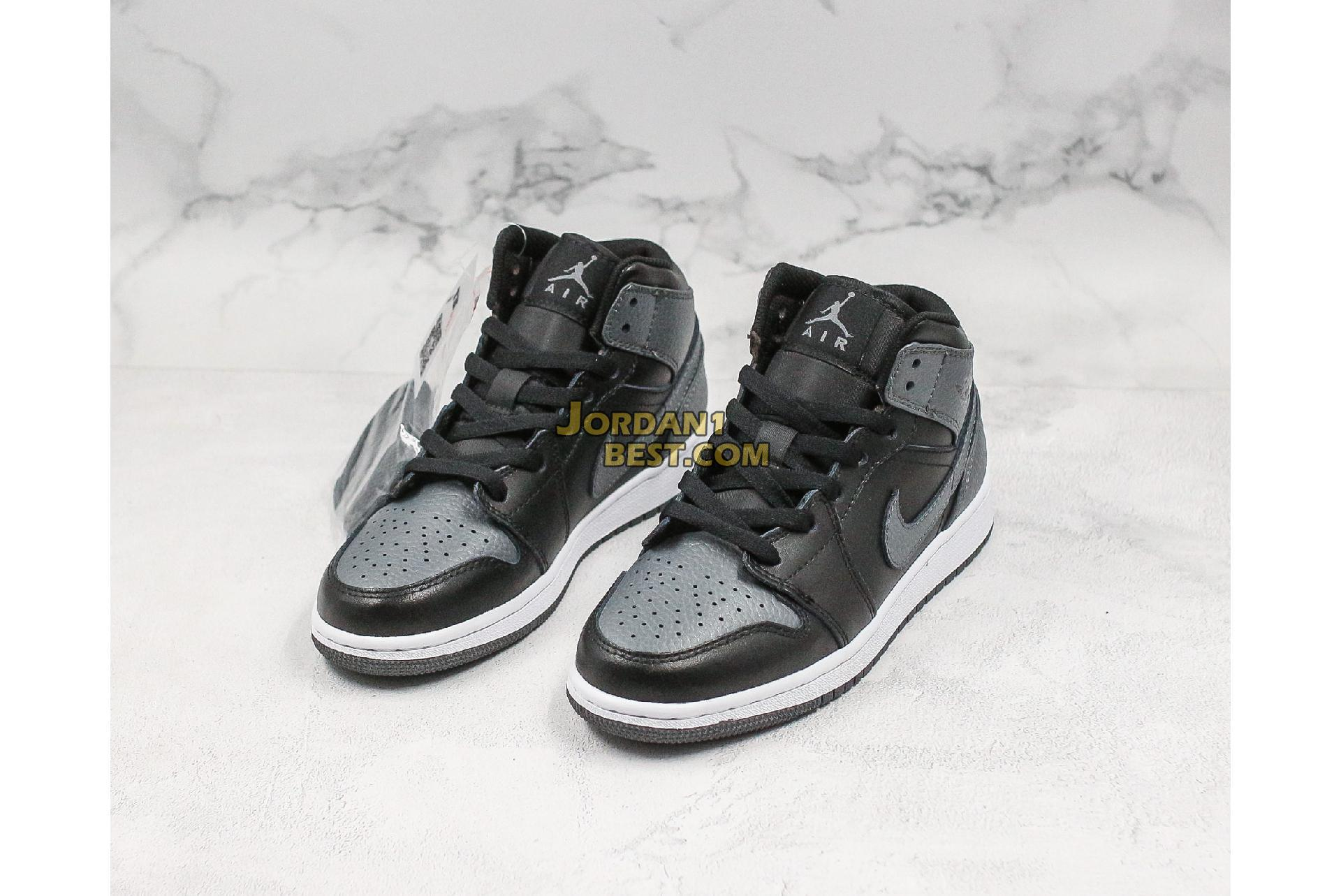 "Air Jordan 1 Retro Mid GS ""Black Dark Grey"" 554725-041 Mens Womens"