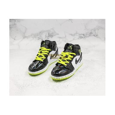 "new replicas Air Jordan 1 Mid SE GS ""Black Cyber"" BQ6931-003 Mens Womens black/cyber-white-mystic green Shoes replicas On Wholesale Sale Online"
