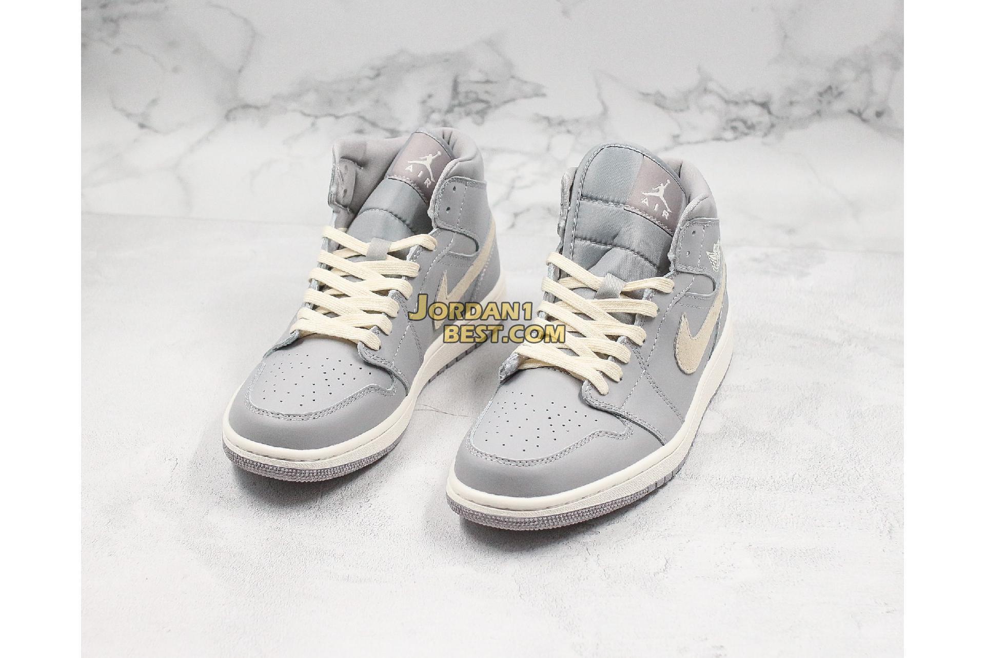 """Air Jordan 1 Mid """"Grey Light Bone"""" CD7240-002 Mens Womens"""