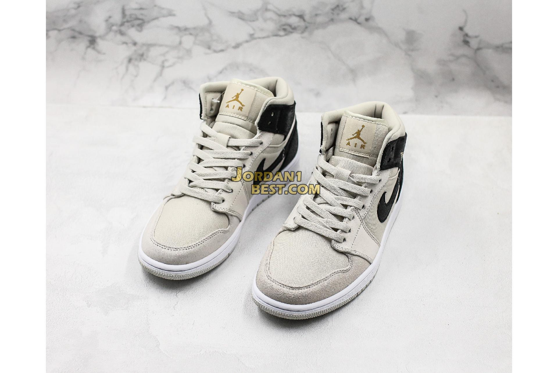 "Air Jordan 1 Retro Mid GS ""Light Bone"" 554725-023 Mens"
