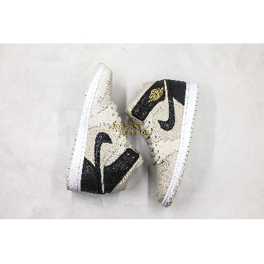 "new replicas Air Jordan 1 Retro Mid GS ""Light Bone"" 554725-023 Mens light bone/metallic gold-black Shoes replicas On Wholesale Sale Online"