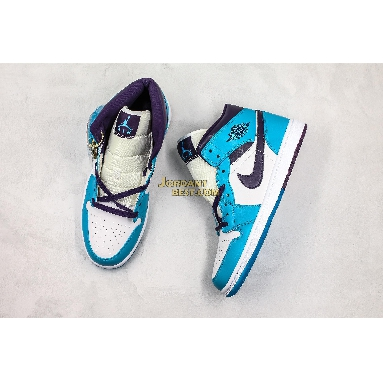 """AAA Quality Air Jordan 1 Mid """"Hornets"""" 554724-415 Mens Womens blue lagoon/grand purple-white Shoes replicas On Wholesale Sale Online"""