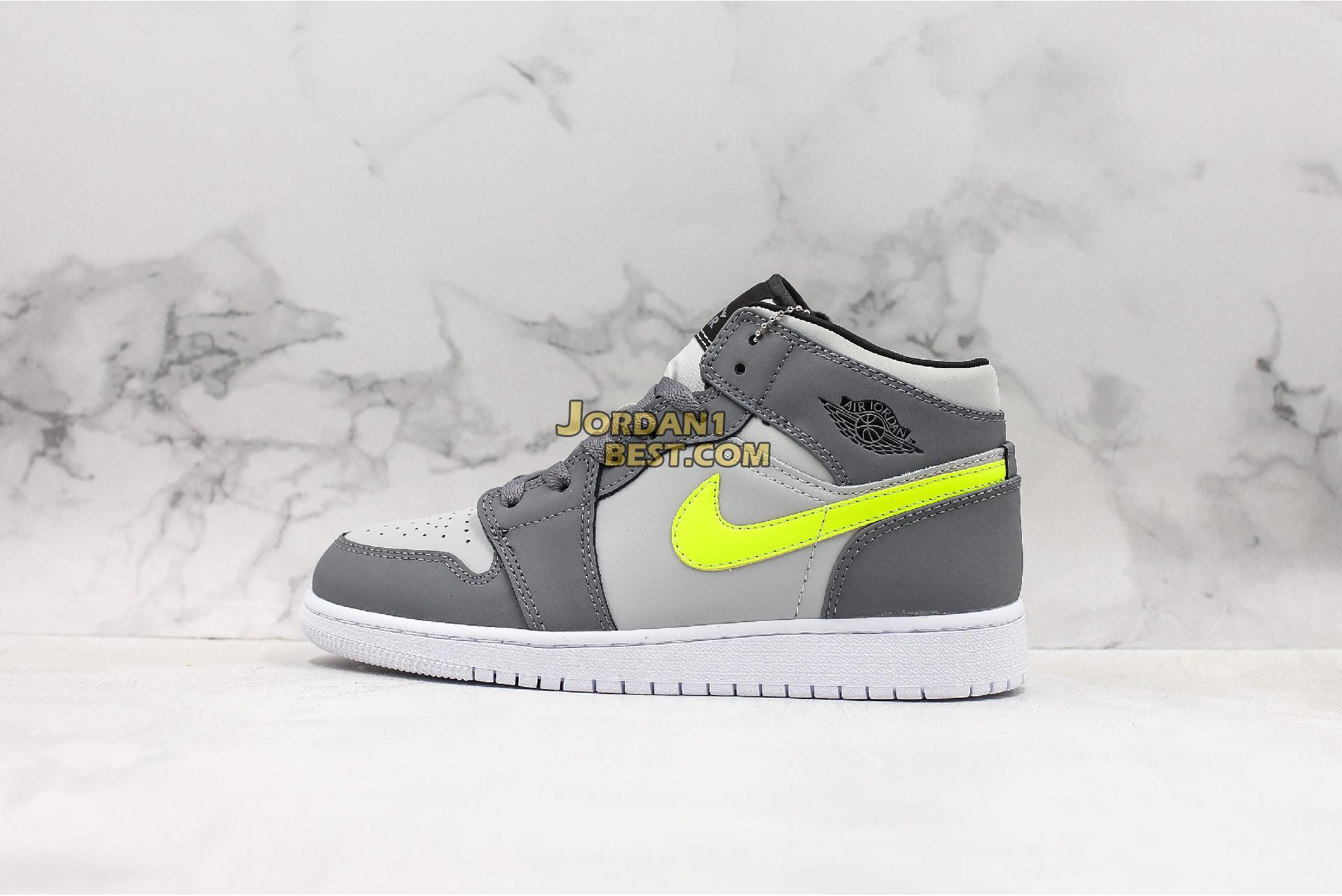 "Air Jordan 1 Mid ""Grey Volt"" 554724-072 Mens Womens"