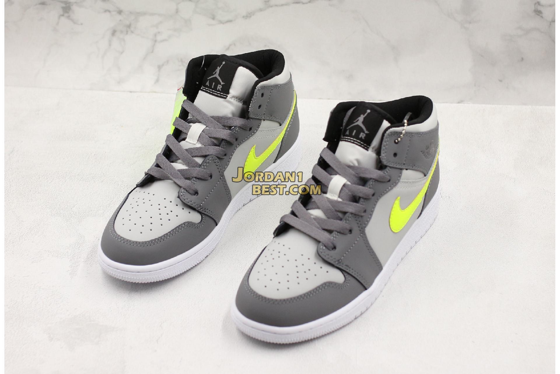 """Air Jordan 1 Mid """"Grey Volt"""" 554724-072 Mens Womens"""