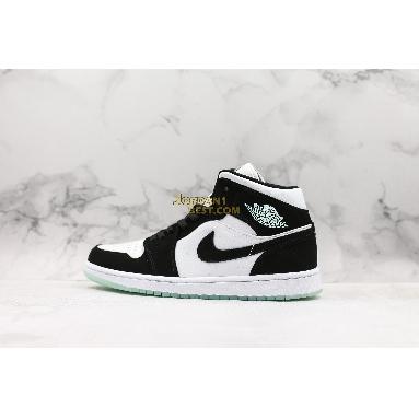 "top 3 fake Air Jordan 1 Mid SE GS ""Glow in the Dark Panda"" BQ6931-103 Mens Womens white/black-teal tint Shoes replicas On Wholesale Sale Online"