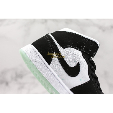 "top 3 fake Air Jordan 1 Mid SE GS ""Glow in the Dark Panda"" BQ6931-103 Mens Womens white/black-teal tint Shoes replicas On Wholesale Sale Online"