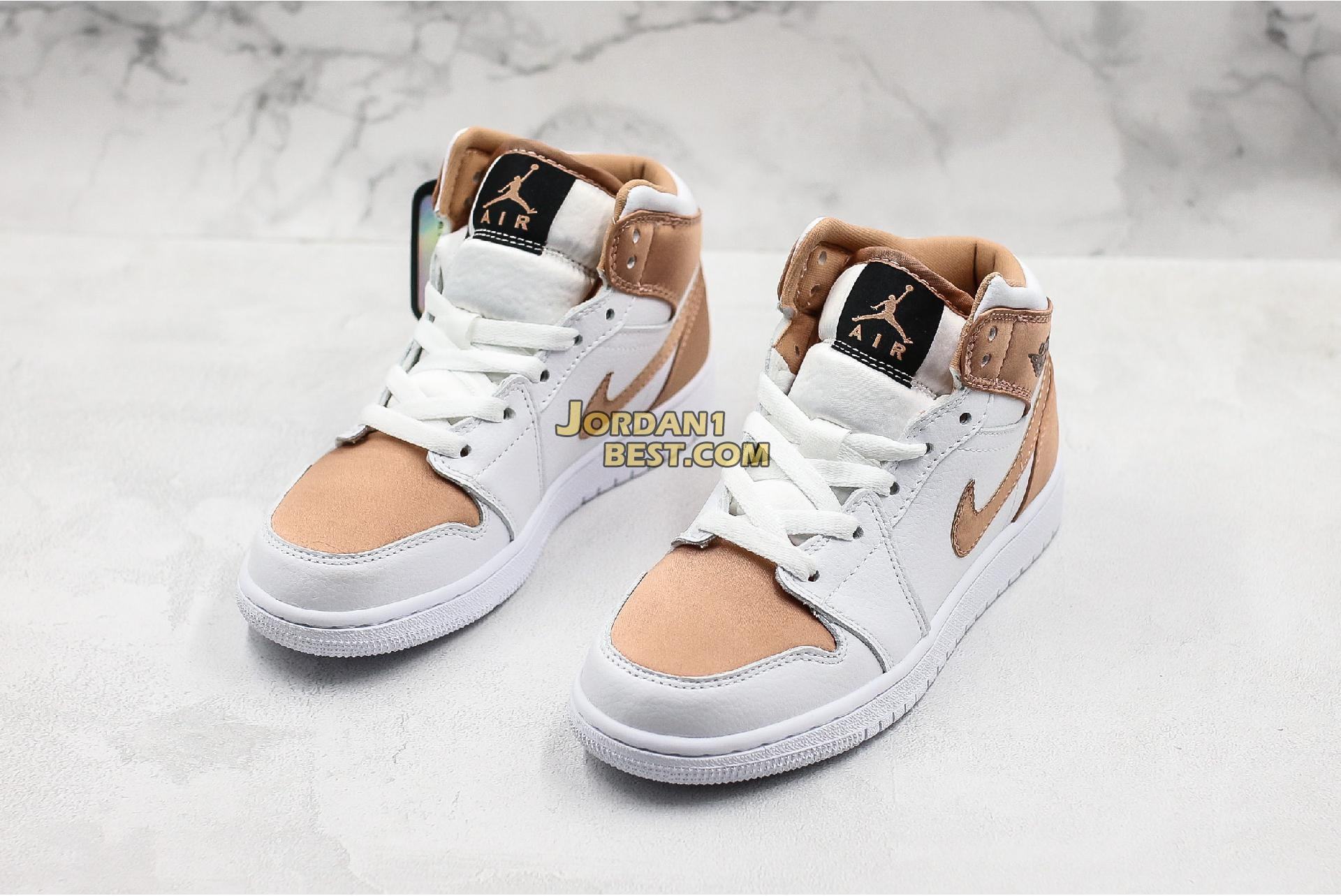 "Air Jordan 1 Mid GS ""White Rose Gold"" 555112-190 Womens"