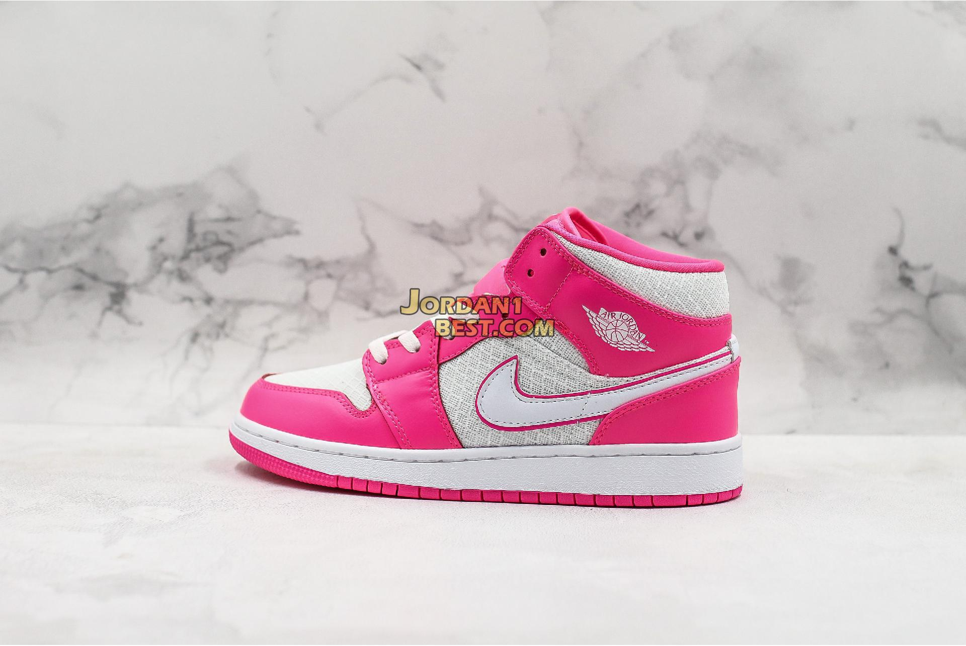 "Air Jordan 1 Mid GS ""Hyper Pink"" 555112-611 Womens"