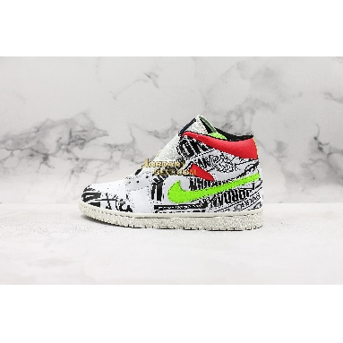 "new replicas Air Jordan 1 Mid ""Over-Print Logos"" 554724-119 Mens white/racer blue-black-cyber-infrared Shoes replicas On Wholesale Sale Online"