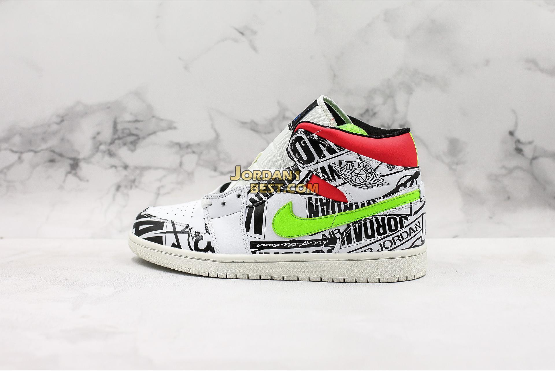 """Air Jordan 1 Mid """"Over-Print Logos"""" 554724-119 Mens"""