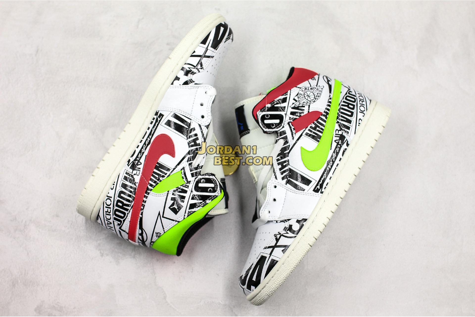 "Air Jordan 1 Mid ""Over-Print Logos"" 554724-119 Mens"