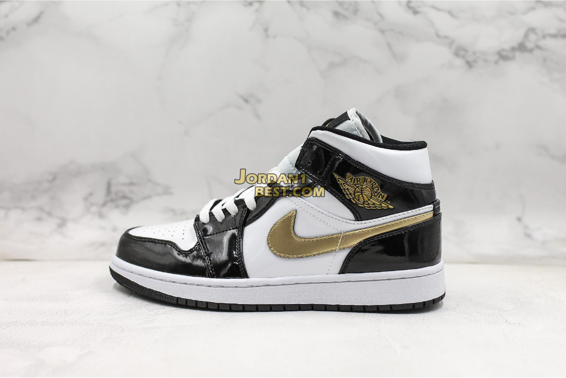 "Air Jordan 1 Mid Patent ""Black Gold"" 852542-007 Mens"