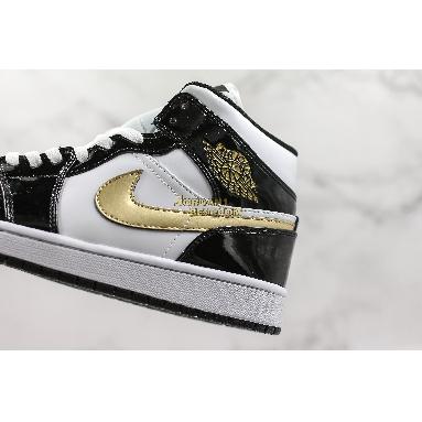 "new replicas Air Jordan 1 Mid Patent ""Black Gold"" 852542-007 Mens black/white-metallic gold Shoes replicas On Wholesale Sale Online"