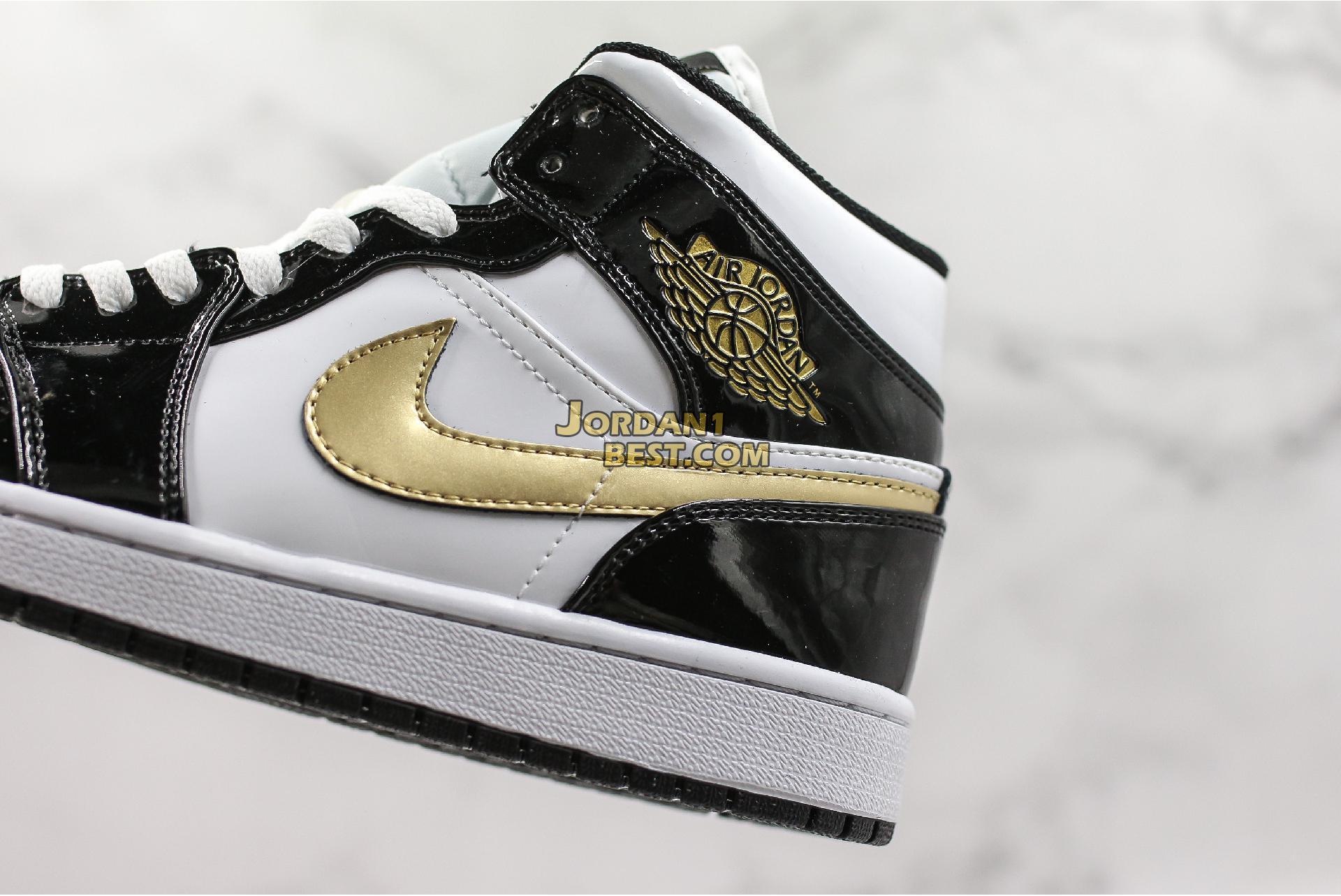 """Air Jordan 1 Mid Patent """"Black Gold"""" 852542-007 Mens"""