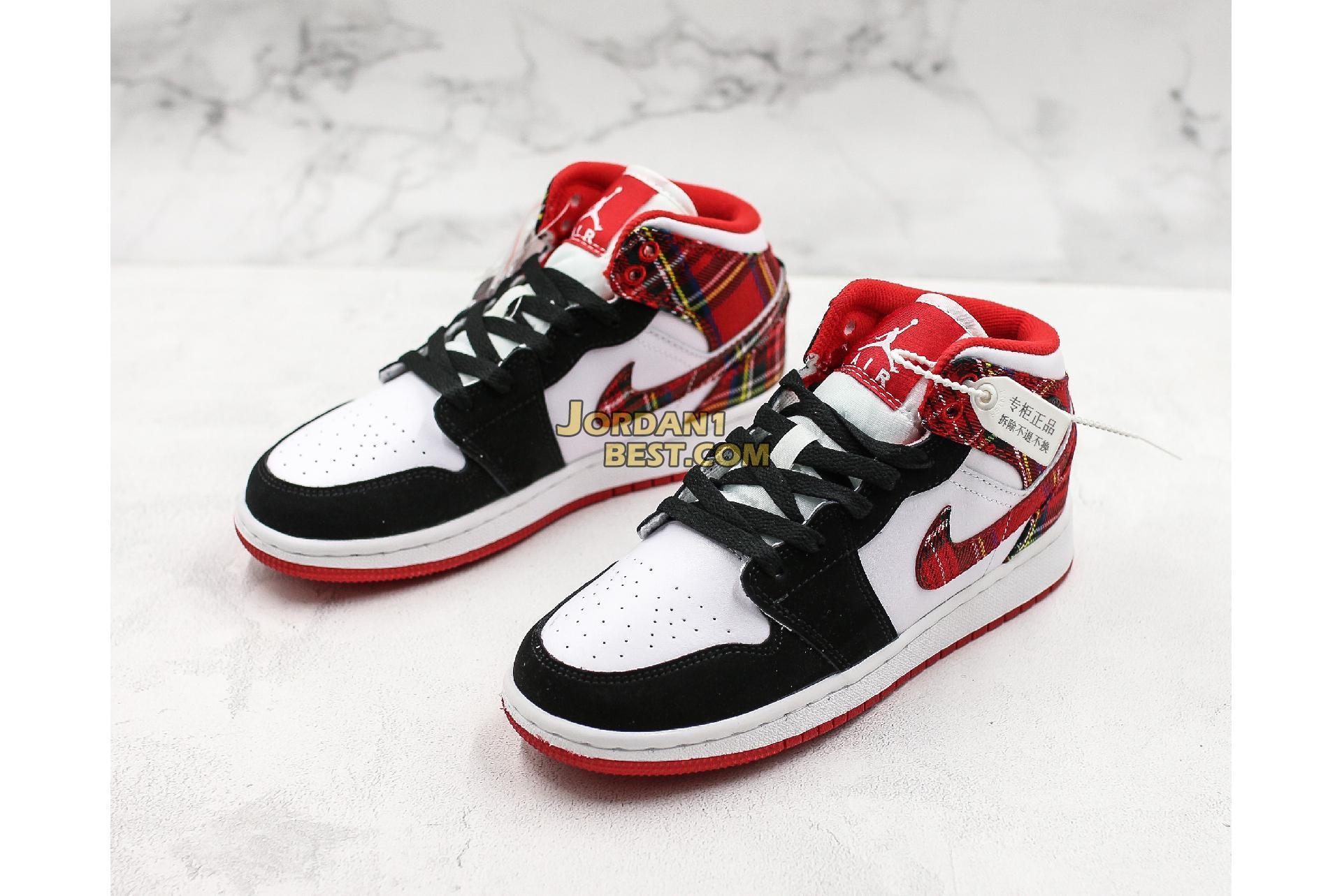 """Air Jordan 1 Retro Mid GS """"Bad Santa"""" 554725-607 Mens Womens"""