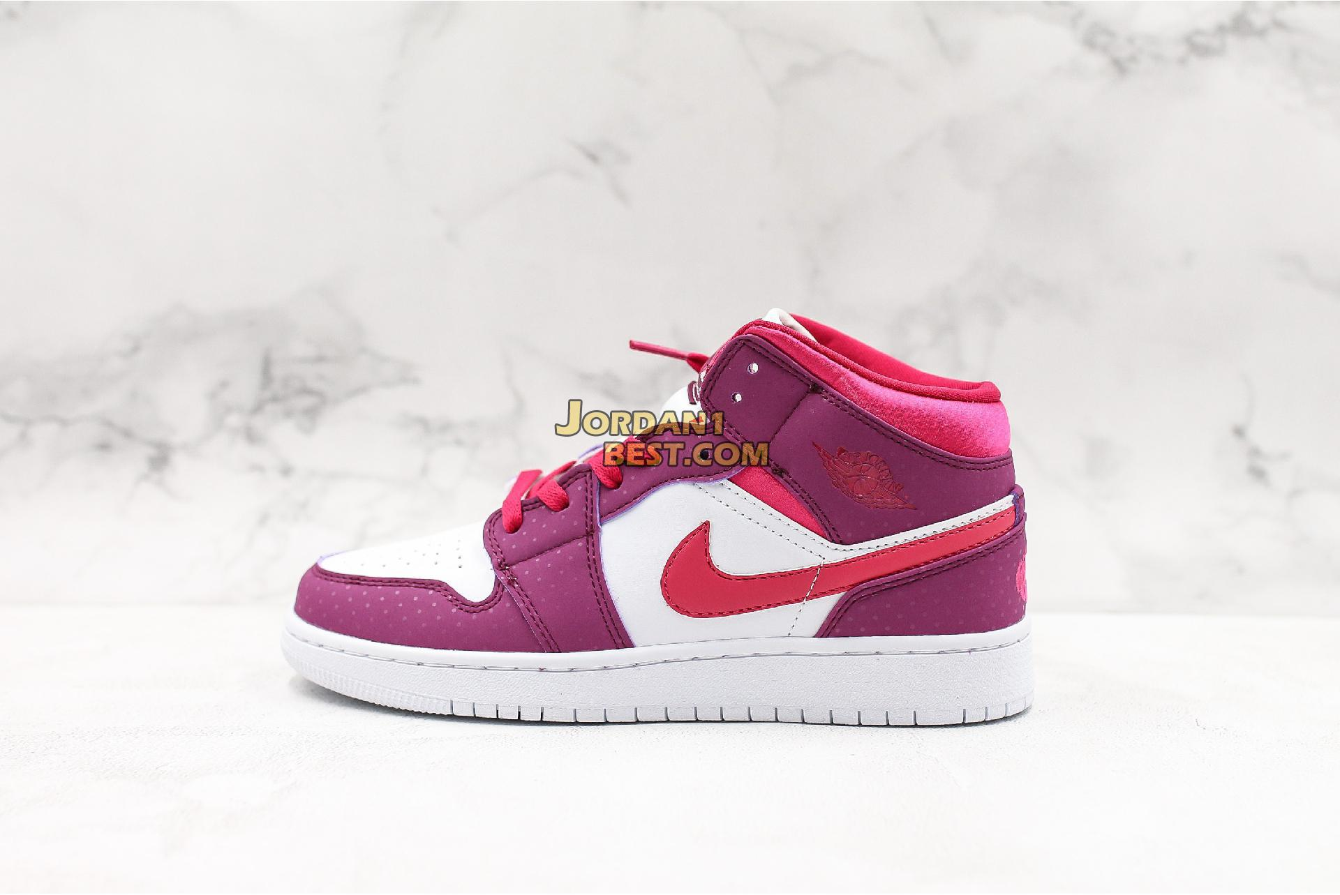 "Air Jordan 1 Mid GS ""Rush Pink"" 555112-661 Womens"