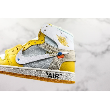 "new replicas OFF-WHITE x Air Jordan 1 Retro High OG ""UNC"" AQ0818-149 Mens white/dark powder yellow-cone Shoes replicas On Wholesale Sale Online"