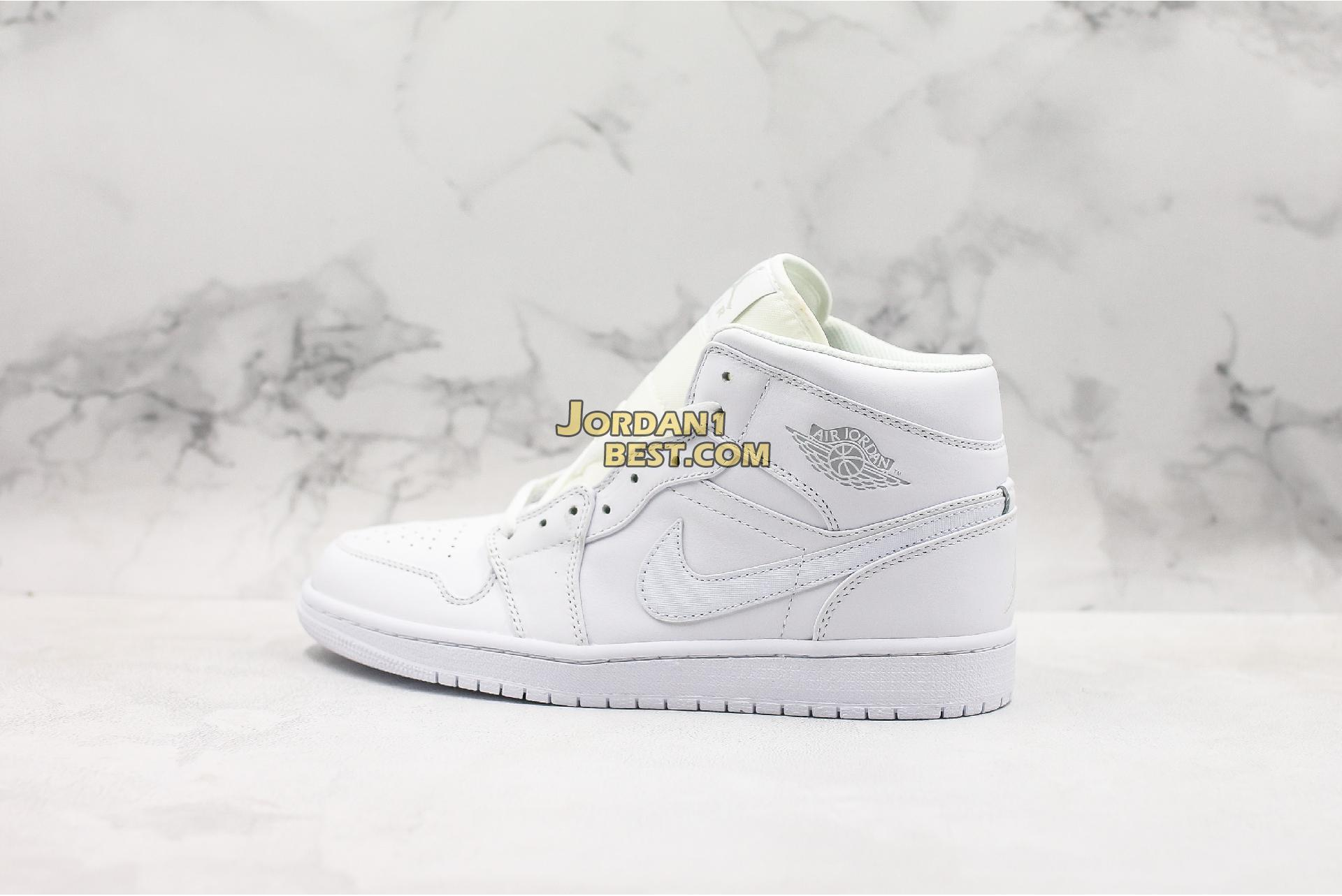 "Air Jordan 1 Retro Mid ""Triple White"" 554724-104 Mens Womens"
