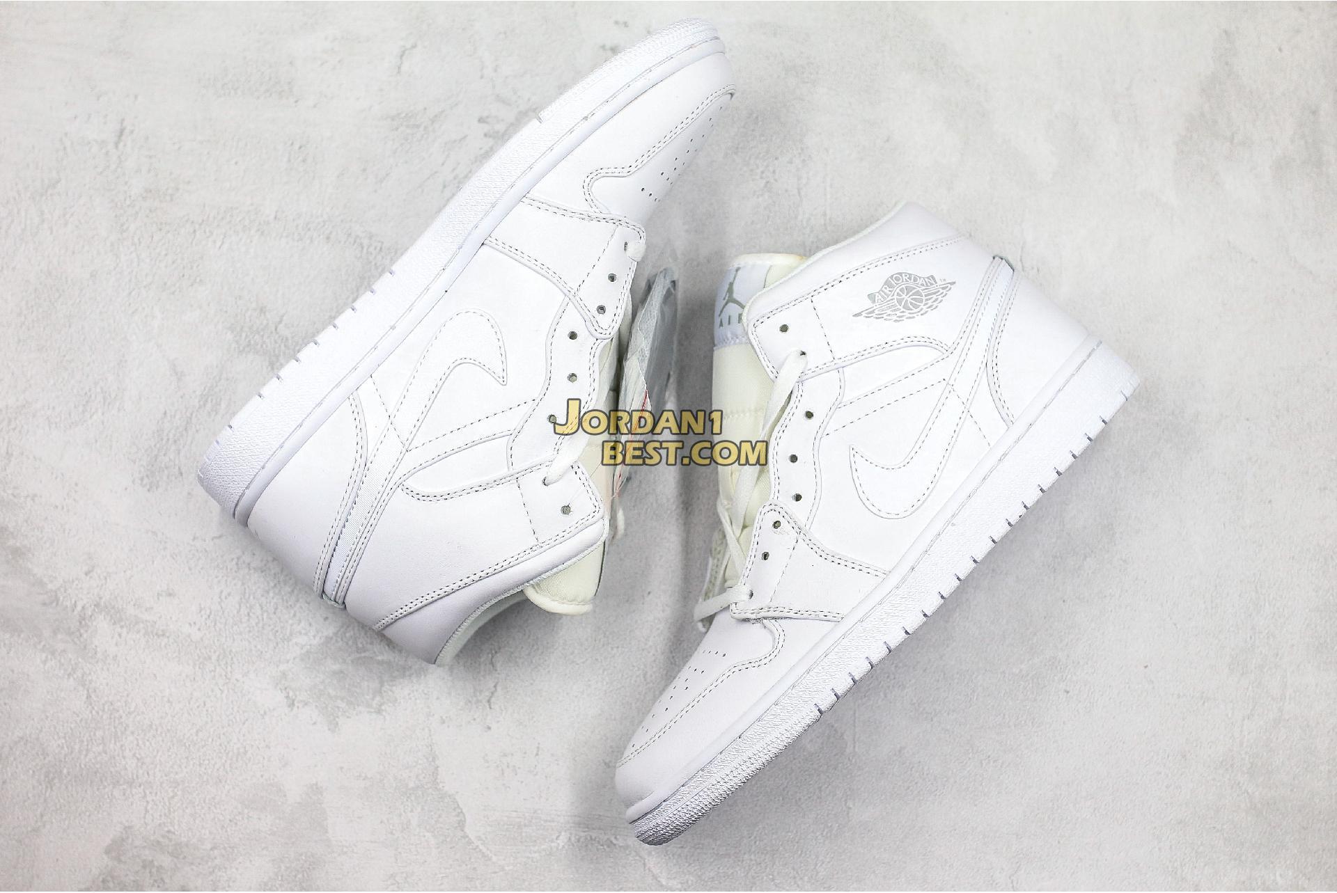 """Air Jordan 1 Retro Mid """"Triple White"""" 554724-104 Mens Womens"""
